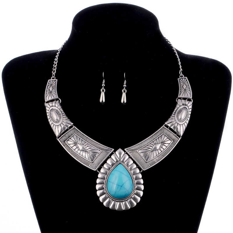 Turkish Jewelry Sets Bohemia Statement Choker Necklace Boho Short Chain Tibetan Silver Drop Pendant Necklace Dangle Earrings