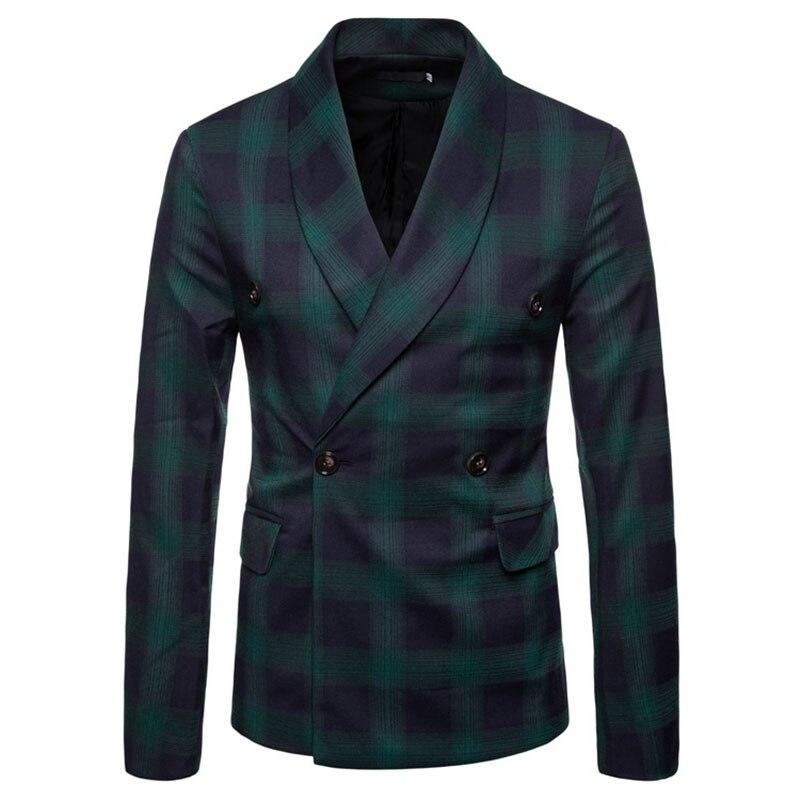 M-4XL Autumn Men Blazers Plaid Scarf Collar Winter Outerwear Smart Casual Slim Jackets For Male Plus Size Coats Suits 2018 New