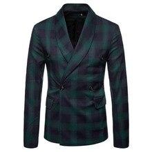 M-4XL Autumn Men Blazers Plaid Scarf Collar Winter Outerwear