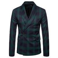 M 4XL Autumn Men Blazers Plaid Scarf Collar Winter Outerwear Smart Casual Slim Jackets For Male Plus Size Coats Suits 2018 New
