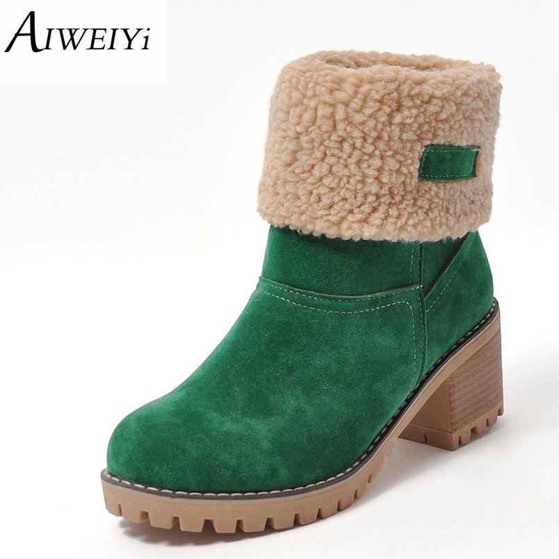 AIWEIYi Brand Women Boots Female Winter Shoes Woman Fur Warm Snow Boots Fashion Square High Heels Ankle Boots Black Green Boots new autumn winter warm women shoes snow boots square high heels artificial leather top casual female elastic band ankle shoes