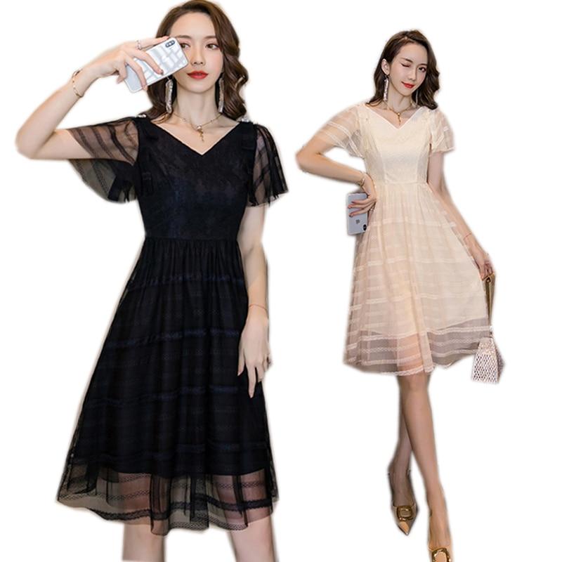 Summer Plus Size Elegant Midi Dress Petal Sleeves Lace Striped Mesh Sweet Dress Bow Beaded Party Dress Cultivated Vestidos 4xl Dresses Aliexpress