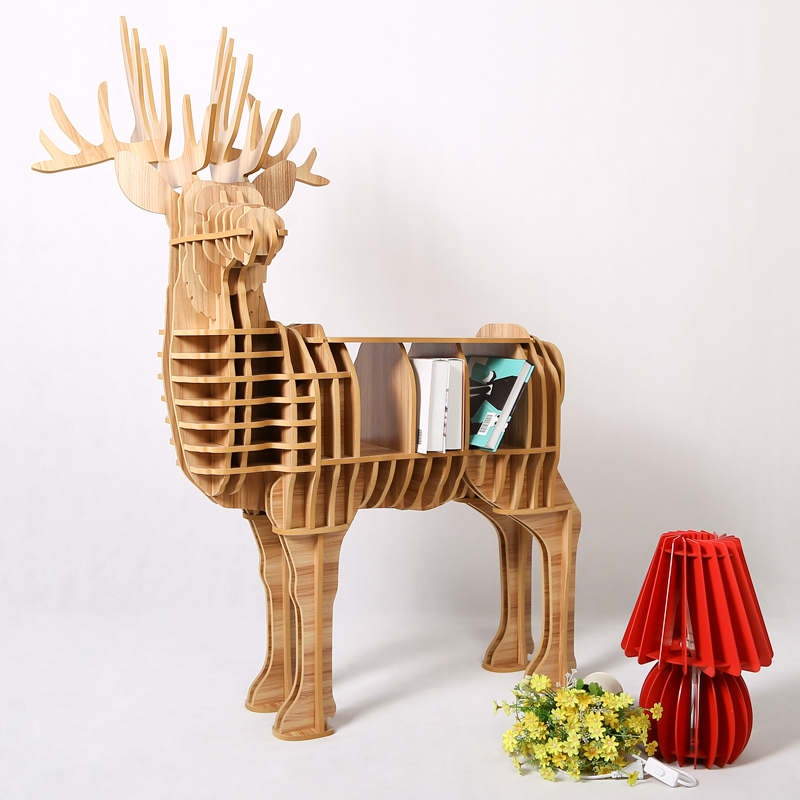 wood craft deer desk deer coffee table wooden home furniture FSC-certified Europe style wooden factory wholesale european style rhino wood coffee table desk craft gift desk self build puzzle furniture free shipping