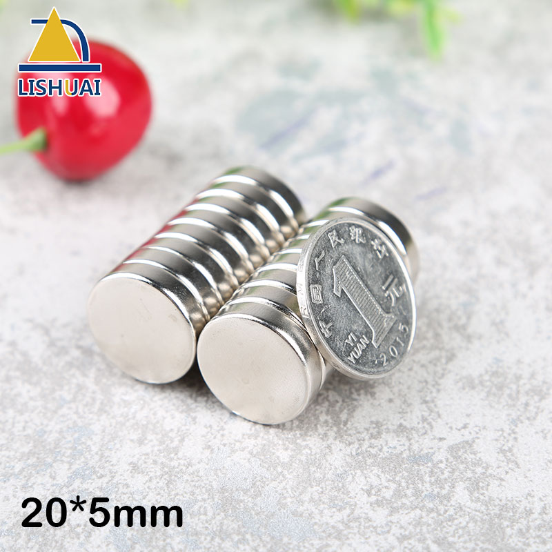 LISHUAI 20mm x 5mm N35 Strong Round Magnets Rare Earth Neodymium Magnet Circular magnet Permanent 20 * 5mm magnet 4 7 5mm neodymium nib magnet spheres with steel case silver 216 piece pack