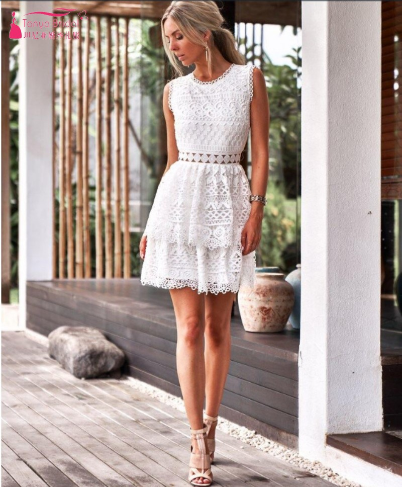 White Homecoming Dress Sleeveless Lace Above Knee Homecoming dress Short Graduation Dress