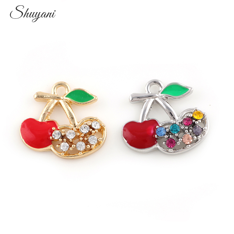 20PCS Alloy Metal Fruit Cherry Charms Crystal Pendant For Handmade Bracelet Jewelry Findings 19*21mm