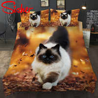 Sisher 3D Cat Printed Duvets And Bedding Sets Duvet Cover Dog Bed Linen Set Single Size Twin Double Full Queen King No Bed Sheet