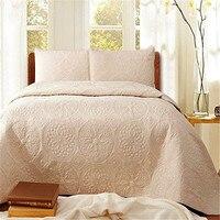 FADFAY לבן בז 'Vintage פרחוני כותנה גודל מלכת סט שמיכת גיליונות שמיכת מיטת סטי רקמת טקסטיל לבית סט כיסוי המיטה