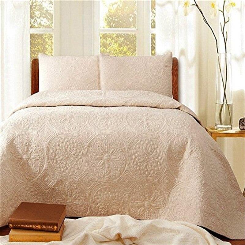 FADFAY Cotton White Beige Vintage Floral Comforter Set Queen Size Bedspread Set Quilt Bed Sheets Sets Embroidery Home Textile