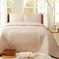 FADFAY Cotton White Beige Vintage Floral Comforter Set Queen Size Bedspread Set Quilt Bed Sheets Sets Embroidery Home Textile