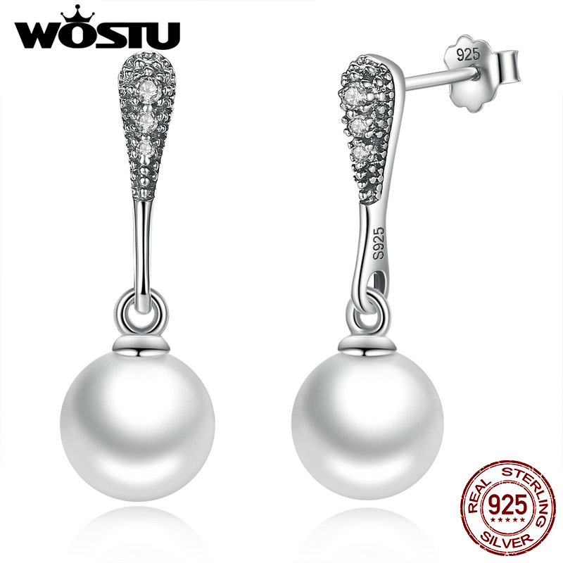 WOSTU Classic 100% 925 Sterling Silver Elegant Beauty Drop Earrings With White Pearl For Women Fine Jewelry Birthday Gift