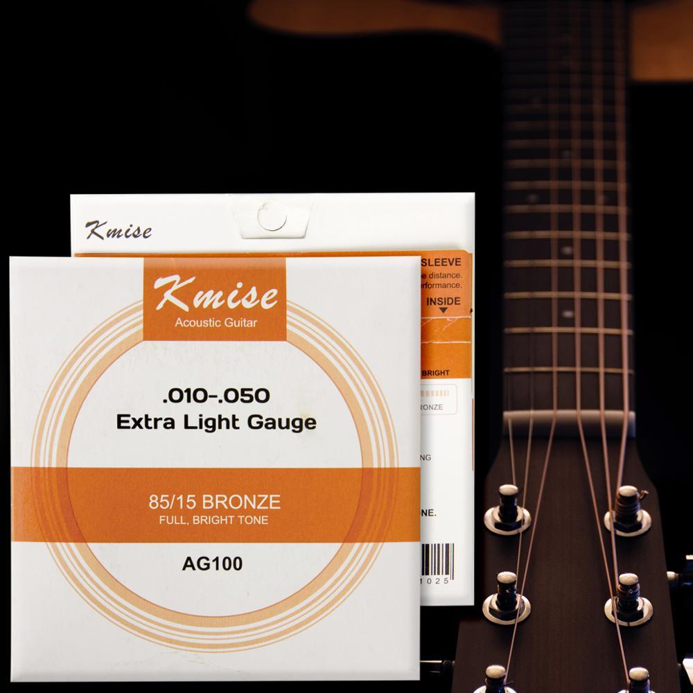 Kmise Струны для акустической гитары, фосфорный бронзовый шар, Экстра/средний/светильник, датчик для практики для начинающих|Детали и аксессуары для гитар|   | АлиЭкспресс