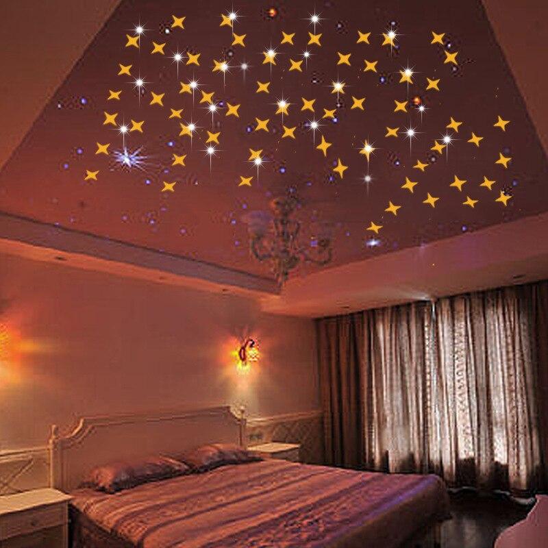 €10.22 6% de réduction|50 Pcs/lot miroir Star Stickers muraux salon chambre  salle de bain miroirs plafond autocollant fonds d\'écran enfants chambres ...