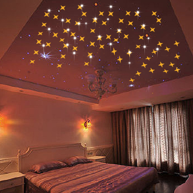 50Pcs/lot Mirror Star Decal Wall Stickers Living Room Bedroom Bathroom Mirrors  Ceiling Sticker Wallpapers