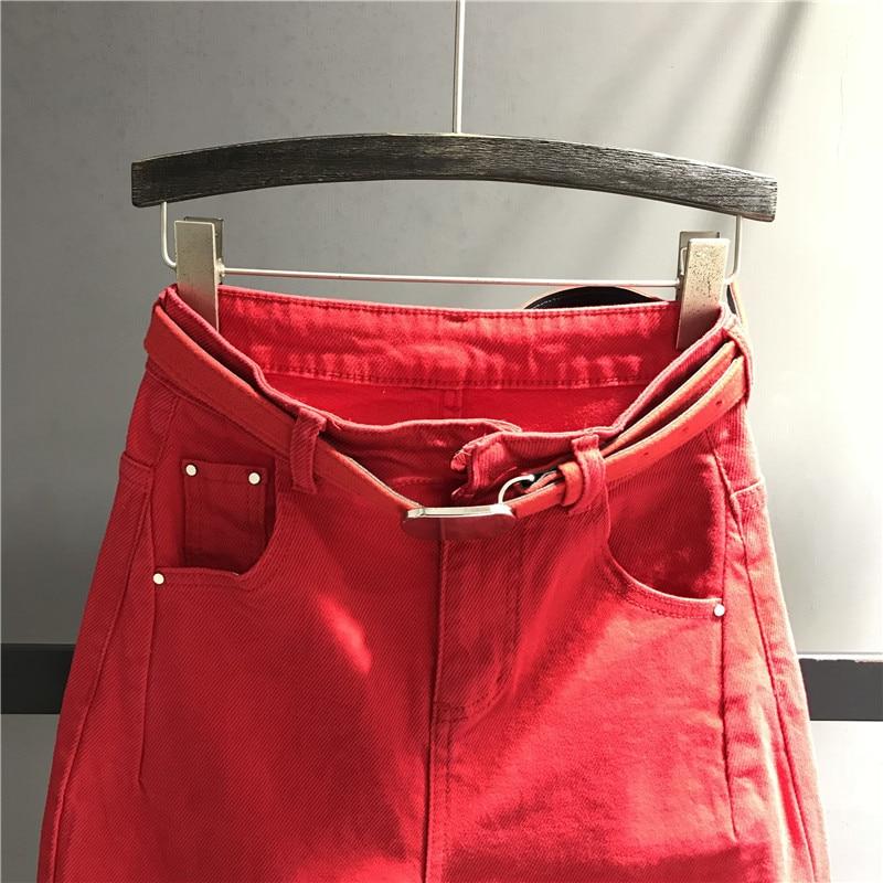 Moda Cintura Mujer Calidad Vaqueros Pantalones Rojo De Plus La Mujeres Denim Alta Casual Harem Dama Las K445 4Yqwqt7xz