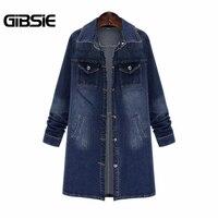 GIBSIE 5XL 4XL XXXL Autumn Women Casual Vintage Denim Jacket Plus Size Women Clothing Long Sleeve