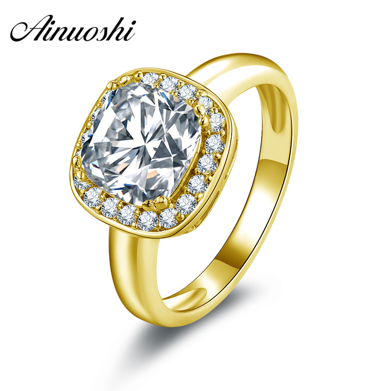 AINUOSHI 10K Solid Yellow Gold Ring Cushion Cut Halo Women Engagement Rings Sona Simulated Diamond Wedding Engagement Band Rings ainuoshi 10k solid yellow solid gold luxury wedding ring 2 carat round cut simulated sona diamond jewelry women engagement rings