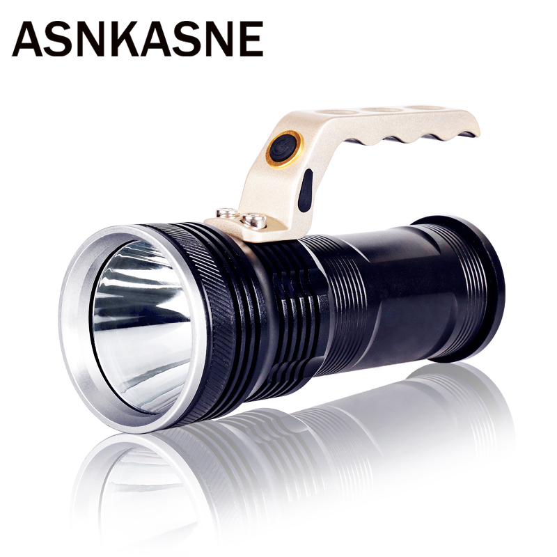 ASNKASNE Powerful Aluminum Cree XM-L T6 LED Flashlight Super LM Flashlight Torch For 2*18650 Battery Handed Lantern Lamp Light