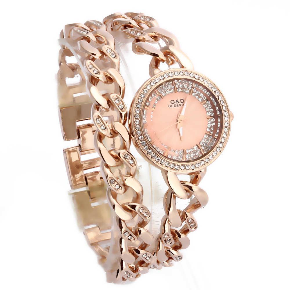 2016 Nova Moda Banda de Aço Inoxidável Relógio de Pulso Analógico de Quartzo Relógios das Mulheres Strass Cadeia Dupla de Ouro Rosa