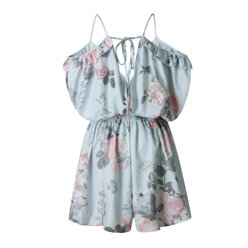 Elegant Women V Neck Playsuits Floral Print Sleeveless Jumpsuits Casual Beach Overall Summer Costumes H9
