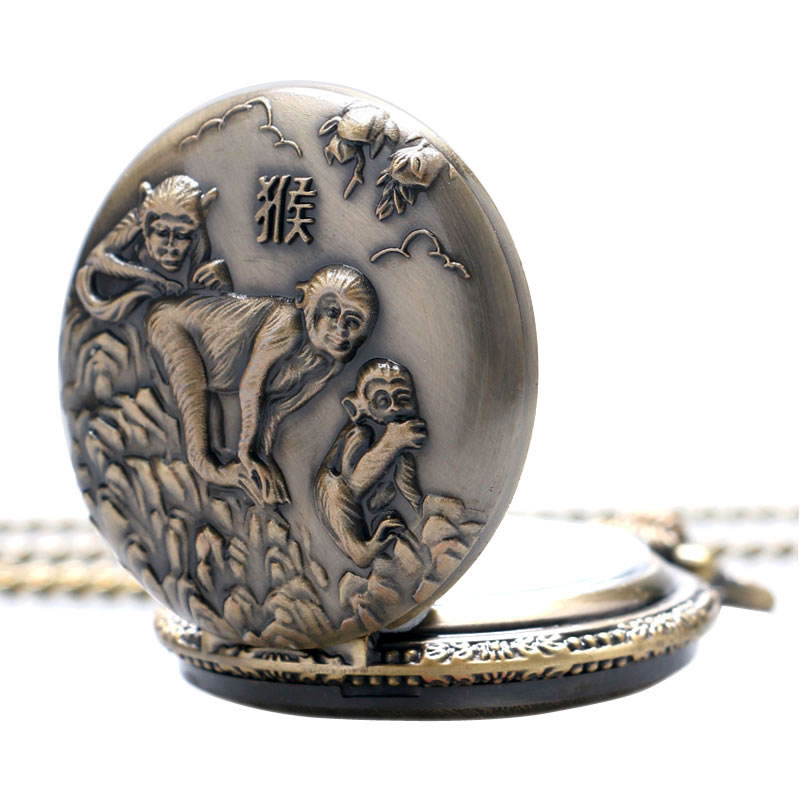 Pocket & Fob Watches Hot New Chinese Zodiac Bronze 3d Smart Monkey Playing Pattern Quartz Pocket Watch Necklace Chain Carving Back Womens Men Gifts