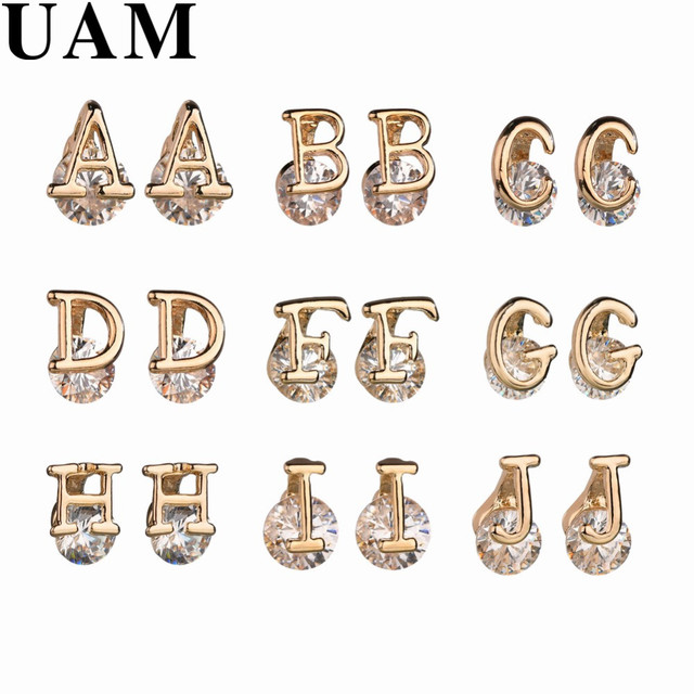 UAM Minimalist Jewelry 26 Letter Gold Stud Earrings Trendy Personalized  Earrings For Women Custom Initial Crystal Accessories
