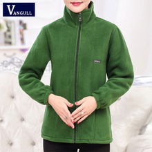 Vangull 2020 New Autumn Mid-aged Women Fleece Jackets Plus Size 5XL Casual Warm Jacket Zipper Outerwear for Mum Winter Fashion