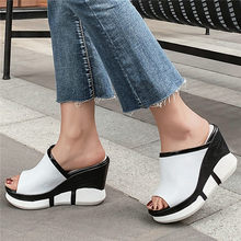 Punk Slippers Women Genuine Leather High Heels Roman Gladiators Sandals Open Toe Wedges Platform Summer Party Pumps Casual Shoes xiuningyan top quality platform shoes women fashion summer woman sandals genuine leather spuer heels wedges party shoes hot sale