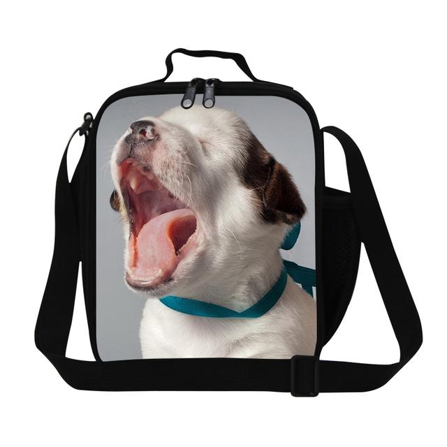 2016 perro 3D de impresión niñas aisladas bolsas de almuerzo para la escuela lindo niños adultos térmica almuerzo contenedores comida bolsa de Mensajero Más Fresco bolsas
