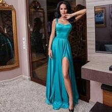 Женское атласное вечернее платье с разрезом бирюзовое ТРАПЕЦИЕВИДНОЕ