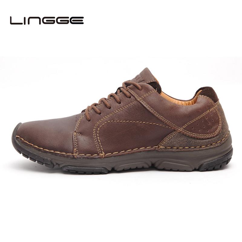 LINGGE Men's Cow Leather Design Shoes Lace Up Brown Flats Breathable Mesh Lining Man Shoes #831-1/3