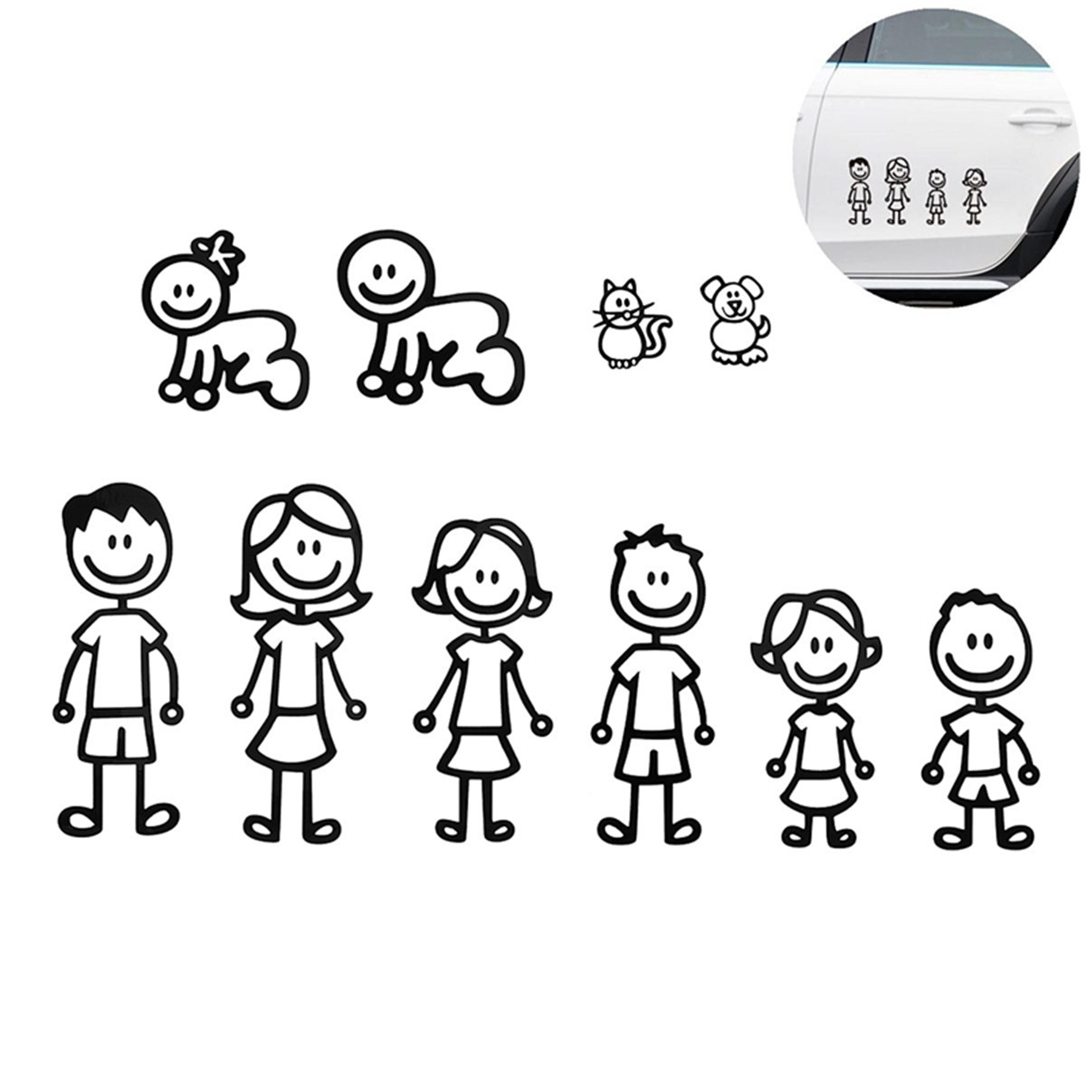 1 Pcs Family Member Car Sticker Car Decal Decoration Vinyl Art Decal For Car Removable Black member