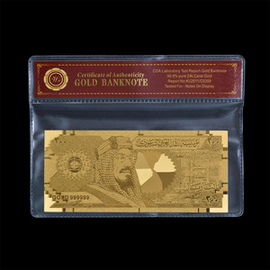 RARE Saudi Arabia 200 Riyal Gold Banknote Engraved 999.9% Metal Gold Leaf Beauty Home And Christmas Day Decoration