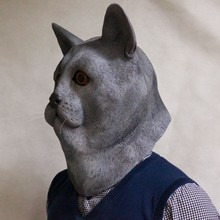 2018 New Products High Sales Halloween Animal Latex Masks Grey Cat Full Face Mask Adult Cosplay