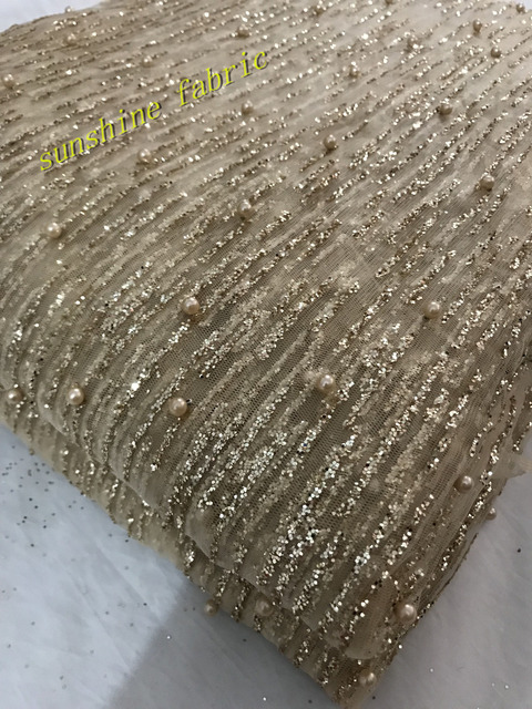 Gold Silver Glitter Mesh Fabric For Evening Dress Gold Sequin Fabric For Dress  2018 African French Lace Fabric High Quality 2467892c4ee8