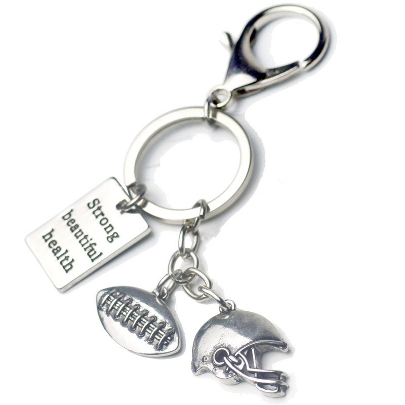 Football Helmet Charms Keychain Wallet Engraved Quotes Key Ring Car Purse Bag Buckle Pendant Women Men Sports Jewelry