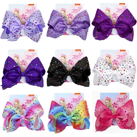 JOJO Siwa 8Inch Large Hair Bow Baby Girls Headwear Colorful Rainbow Hot drilling Bows Festive Party Hair accessories Hair clip Lahore