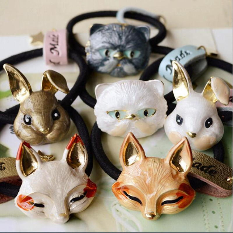 Timlee H033 Тегін жеткізу Cute Cat Fox Rabbit HairBlack Hair Accessory Сыйлық