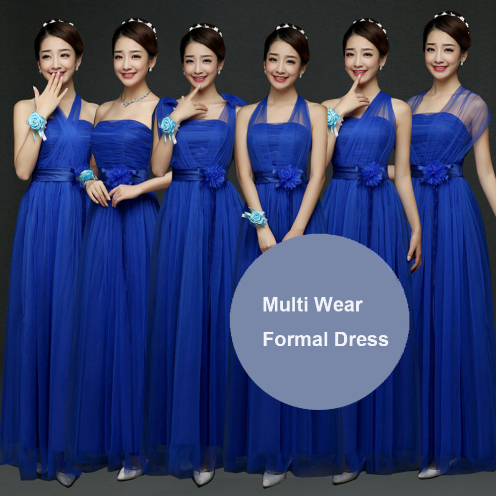 9f3e4f6826 Women Royal Blue Bridesmaids Convertible Dress Multi Way Wrap Bridesmaid  Long Dresses Wedding Formal Party Maxi Dress Long Prom-in Dresses from  Women s ...