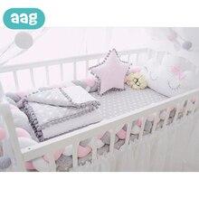 AAG 1M/2M/2.5M/3M Baby Bed Bumper Woven Handmade Nodic Long Knot Stripe Braid Pillow Newborn Twist Circumference Decor *