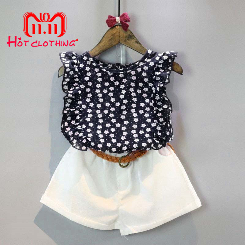 2 PCS Toddler Baby Girl Clothes Set Summer Floral Shirt + White Shorts Set Casual Sweet Girl Baby Clothes Set недорого