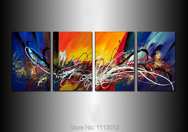 Hot Sale Modern White Peacock Landscape Oil Painting On Canvas 4 Panel Arts Set Home Abstract Wall Decor Picture for Living Room