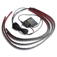 4pcs 12V Waterproof RGB 5050 SMD Flexible LED Strip Under Car Tube Underglow Underbody System Neon