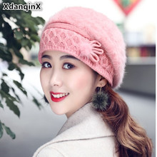 XdanqinX New Winter Adult Womens Rabbit Fur Hat Thick Warm Knit Berets Solid Multi-color Fashion Elegant Female Hats