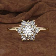 Fashion Snowflake White Zircon Gold Color Ring For Women Engagement Wedding Heart Flower Shape Party Jewelry Rings