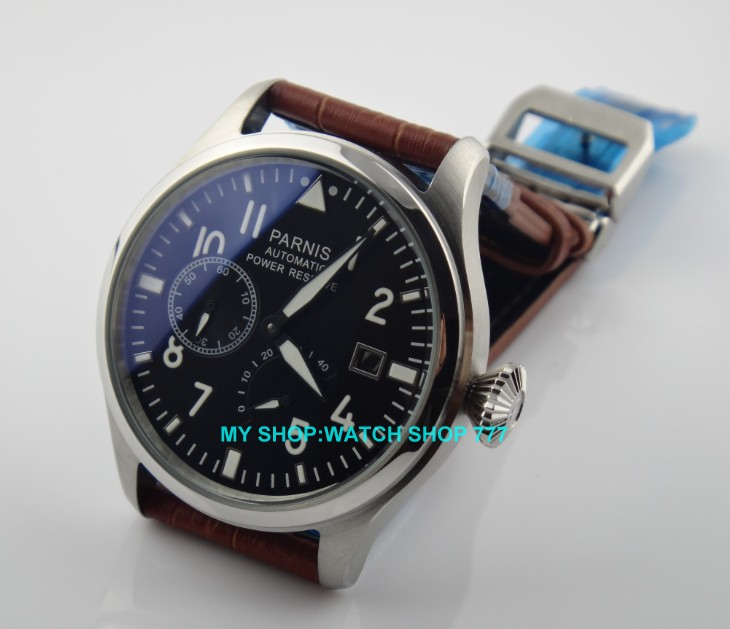 47mm PARNIS brand Automatic Self-Wind movement Power Reserve Mechanical watches Mens watches  wholesale  03047mm PARNIS brand Automatic Self-Wind movement Power Reserve Mechanical watches Mens watches  wholesale  030