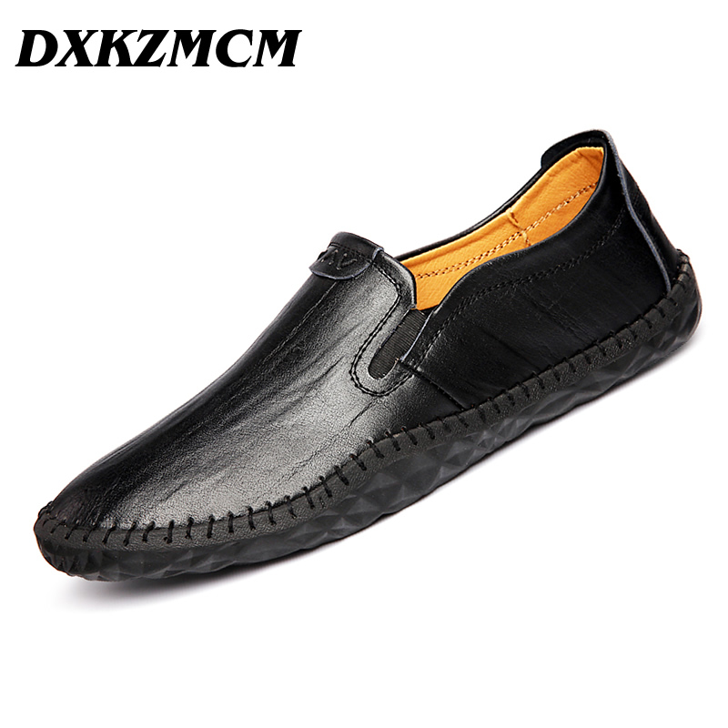 DXKZMCM Handmade Men Flats Shoes Soft Leather Men Loafers ,Weaving Casual Driving Shoes Classical Moccasins For Men dxkzmcm men s casual shoes genuine leather soft loafers for men slip on moccasins boat flats shoes