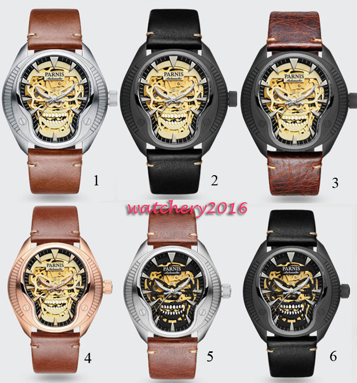 2018 New Fashion 40mm parnis skeleton dial Luminous marks top brand Luxury Sapphire glass Miyota automatic Mechanical mens watch 40mm parnis black dial green bezel luminous marks sapphire glass miyota automatic mens watch