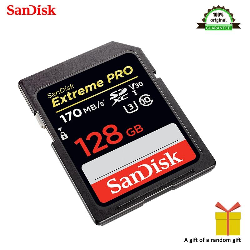 100% Original SanDisk Extreme PRO SDXC UHS-I 128 GB U3 note vidéo 128 GB haute vitesse carte mémoire C10 SD caméra classe 10 170 mo/s
