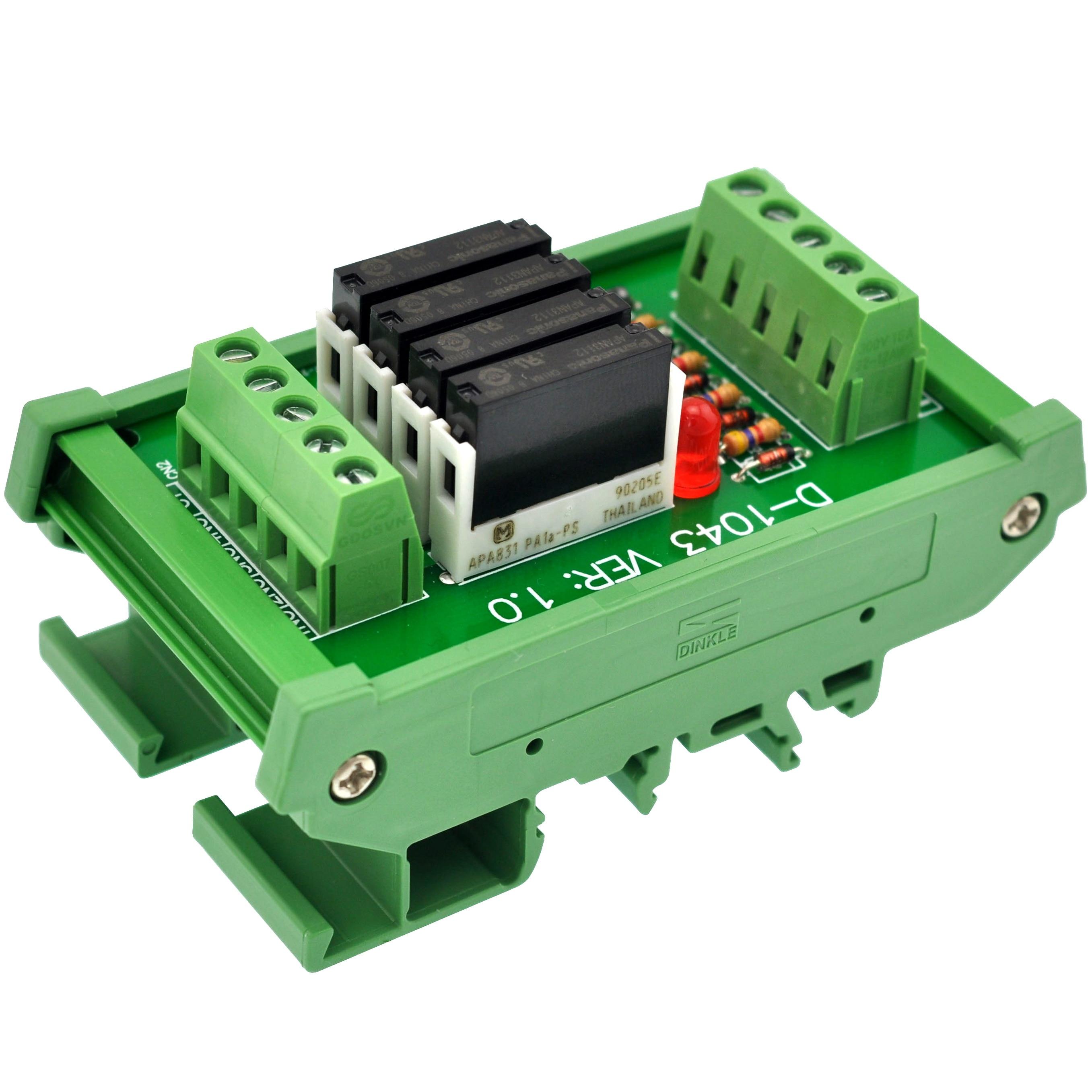 Slim DIN Rail Mount DC12V Source/PNP 4 SPST-NO 5A Power Relay Module, APAN3112